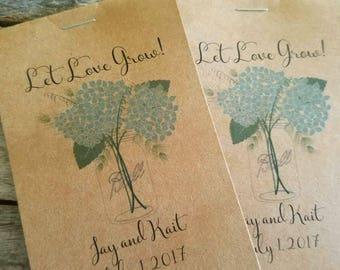 RUSTIC Blue Hydrangea Mason Jar Design - Seeds Let Love Grow Flower Seed Packet Favor Shabby Chic Cute Favors for Bridal Shower Wedding