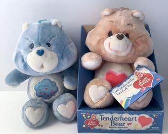 1984 Kenner Tenderheart Bear NIB & 1983 Grumpy Bear - Care Bears plush pair