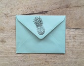 "Cracked Pineapple Return Address Rubber Stamp 1"" x 2"" and 2"" x 4"