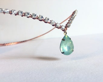 Rhinestone Crown - Aqua Jewelry - Crowns and Tiaras - Rhinestone Tiara - Bridal Crown - Circlet - Elven Crown - Fairy Crown