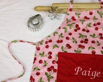 Personalized Retro Cherry Child Apron with red pocket - made to order