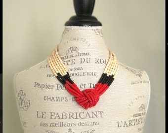 Red, Creme and Black Necklace / Retro 1980s Jewelry / Multi-Strand Bold Knotted Necklace / Modern Contemporary