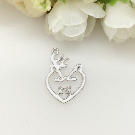 1 White Browning Heart Charm Browning Pendant Deer Charm