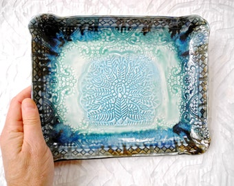 Peacock Plate, Small tray, ceramic platter, appetizer plate, India Decor, turquoise blue, decorative tray, Vanity Tray, stamped ceramic