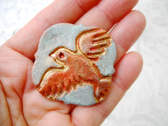 Bird pendant, Dove brooch, Dove pendant, red blue pendant, red gold, pottery pendant, porcelain necklace, Boho style, Boho chic, copper gold