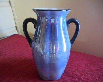 Vintage 1950s to 1960s Light Blue Lusterware White Inside Double Handle Vase Black Trim Made in Czechoslovakia