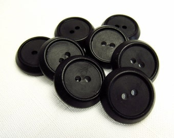 """Retro Style: 7/8"""" (22mm) Vintage Black Catalin Buttons - Set of 8 Matching Buttons"""