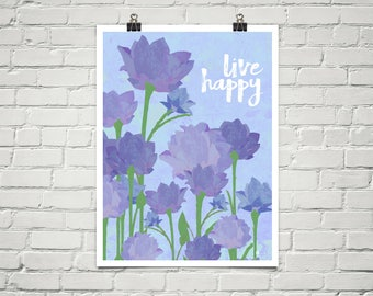 Live Happy 18x24 Art Poster Giclee Typography Floral Garden Lavender Purple Roses Lisa Weedn