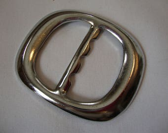 Buckles: Slide through Silver Buckle, 2 1/4 inches long x 1 3/4 inches wide, Metal.