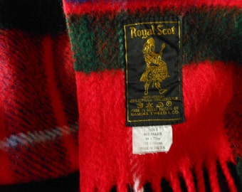 Vintage Royal Scot Fringed Throw RED FRASER Tartan UK
