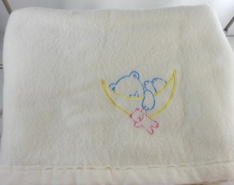 Vintage Baby Blanket Acrylic Embroidered Bear on Moon USA