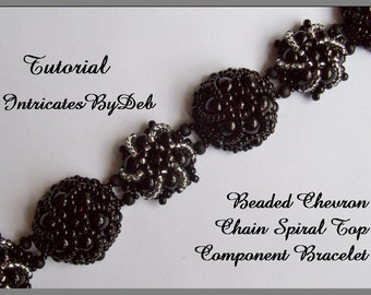 Tutorial Beaded Chevron Chain Spiral Top Bracelet - Beading Pattern, Beadweaving Instructions, PDF, Do It Yourself, Download
