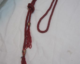 Vintage Red Crochet Bead Rope Necklace with Art Glass Bead and Tassels