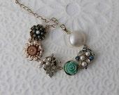 Vintage Earring Bracelet Upcycled Clip on Pearl Turquoise Blue Aqua Robins Egg Aurora borealis Rose Flower Floral Leaf Cluster Trinket Gold