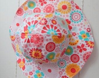 Girls Sun Hat, 2T to 3 years Girl Sun Hat, Reversible Sun Hat