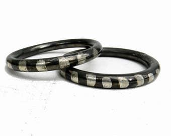 Vintage PAIR Heavy Silver Oxidized Bangle Bracelets 1920s Art Deco