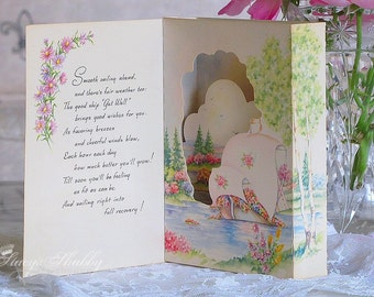 Adorable  Antique Boats Pop Up GET WELL CARD, Pink Roses, 3d, Three Dimensional, Cottage, Lake Scene, Pastels