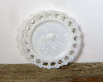 Antique Milk Glass Plate with Angel and Lute Early 1900s While Milk Glass Decorative Plate Angel Playing Insturment