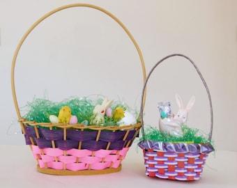Vintage Easter Decor: 1960s Easter Baskets, Flocked Easter Picks, Plastic Easter Bunny Candy Container
