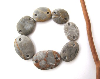 Rock Links Beach Stone Beads Double Drilled Mediterranean Natural Stone Beads Diy Jewelry Findings Stone Connectors GRAY LINKS 17-26 mm