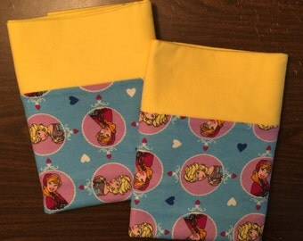 Frozen pillow case made with100% cotton flannel Standard size available bright yellow cuff