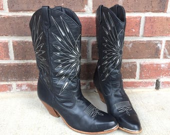 vtg 70s DINGO silver inlay COWBOY BOOTS 7 black leather western stitched boho hippie heels shoes womens