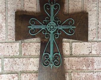 Large Wood Cross, Turquoise Wood Cross, Antiqued Turquoise Wall Wood Cross