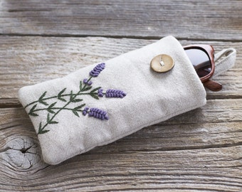 Lavender Flowers Sunglasses Case, Hand Embroidered Linen Eyeglasses Case, Bulgarian Lavender Embroidery