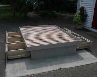 NdFvN01 Solid Hardwood Cantilever Platform Bed with 6 drawers - natural color