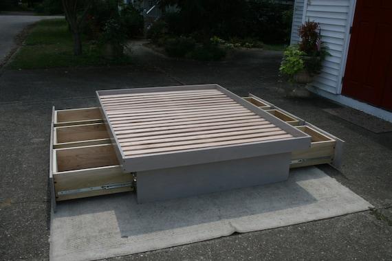 Ndfvn01 Solid Hardwood Cantilever Platform Bed With 6 Drawers