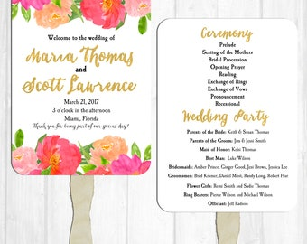 Wedding Program Fans Printable or Printed with FREE Shipping - Watercolor Floral Collection