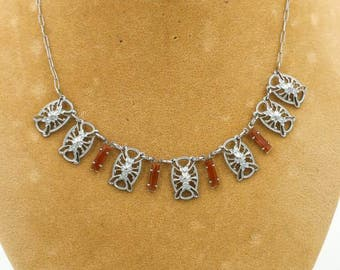 Art Deco Necklace Carnelian Rhodium Plated
