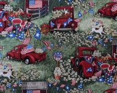 Susan Winget Fabric, Patriotic Americana Fabric, By The Yard, Patriotic Picnic Collection, Fourth of July, Quilting Sewing Fabric, Red Truck