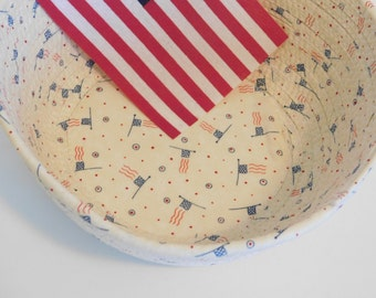 Coiled Fabric Basket, Coiled Rope Basket, Patriotic Bowl, Bread Bowl, Americana Decor, Decorative Bowl, Centerpiece, Table Setting, July 4th