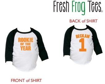 Rookie of the Year Birthday Shirt - 3/4 or long sleeve relaxed fit raglan baseball shirt - Any age and name - pick your colors!