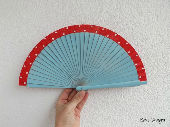 Pale Blue with Red White Polks Dot 19cm Smaller Purse Size Wooden Fabric Hand Handheld Folding Fan Flamenco by Kate Dengra Spain