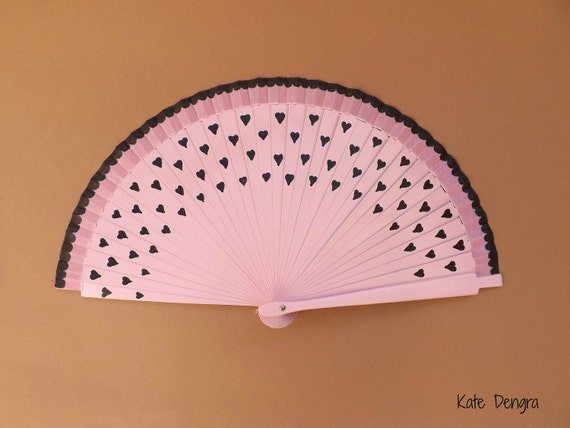 Black Hearts on Pale Pink Hand Fan READY to SHIP