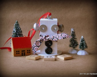 Robot Ornament - Snowman Ornament - Upcycled Ornament - Hanging Decor by Jen Hardwick