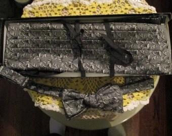 Vintage Silk Paisley Cumberbund Bow Tie Set / 70s Robert Talbott Black Silver