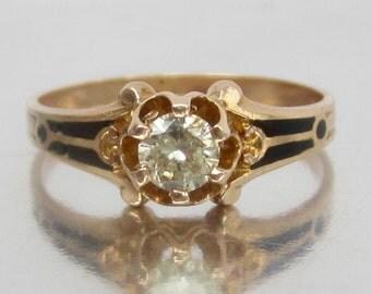RARE Antique Diamond and Black enamel Engagement Ring. Titanic Engagement. Englehart Ostby's Maltese Cross. Ostby Barton