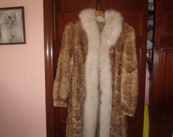 vintage genuine mink fur coat fox fur collar full length satin lining monogramed pockets size large