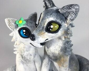 Custom Wolf Wedding Cake Topper