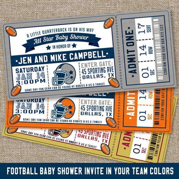 Football Baby Shower Invitations Football Baby Shower PRINTABLE
