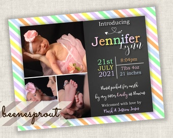 Pastel Hand Picked for Earth Rainbow Baby Birth Announcement