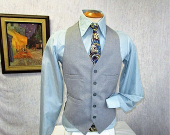 "70s 40"" M Tweed Pinstripe Vest Waistcoat Wool Cement Gray Cartier"