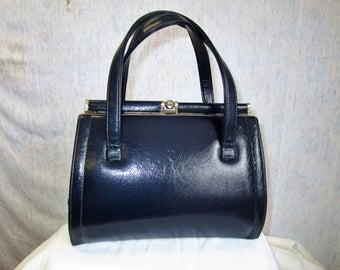 50s 60s Vinyl Purse Handbag Navy Blue