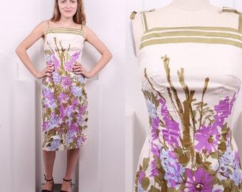 Vintage 1960's Silk Floral Dress • 60's Spring Watercolor Sheath Dress • Size S