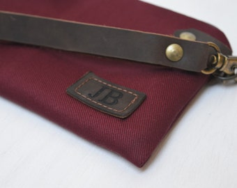 Burgundy Personalized Clutch, Monogrammed canvas pouch, Unisex Zipper Bag, Leather Engraved Label, Customization Bag, Unique Gift for Men