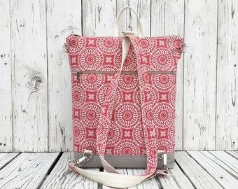 Vegan Canvas Backpack, Summer Red Beige Rucksack, Functional Laptop carrier, Birthday Preset, Unique Gift for Women, Macbook Bag