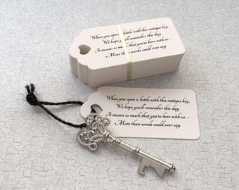 "Skeleton Key BOTTLE OPENERS + ""Poem"" Thank-You Tags – Wedding Favors set of 150 - Ships from United States - Antique Silver"